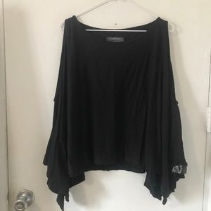All Saints black cold shoulder blouse